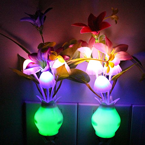Taozi 2pcs Kids Night Light Color Changing Flower Plug In Led