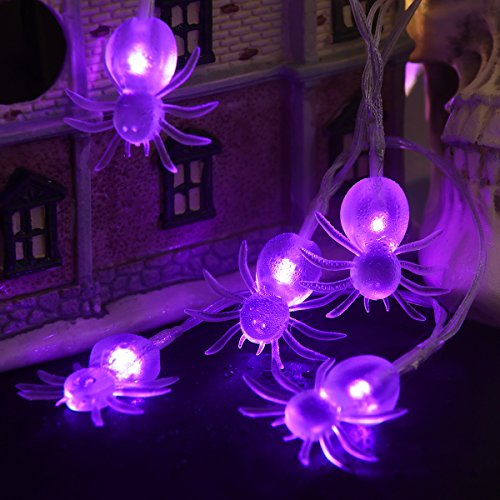 halloween string lights yunlights 11ft 30 purple spiders lights halloween decoration lights with 8 modes battery powered