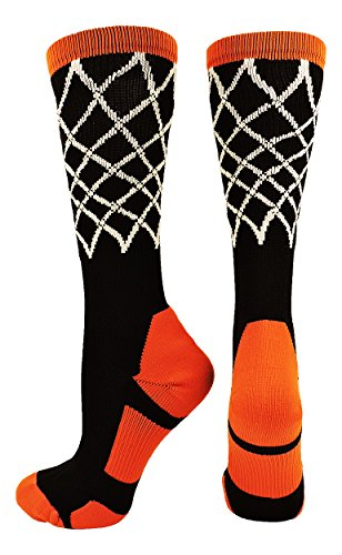 Basketball Net Crew Socks Black Orange Medium