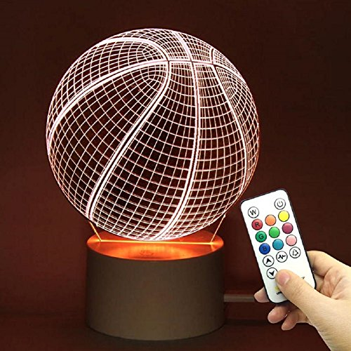 TRADE 10 Color Change Touch Remote Control Dimming Basketball Ball Sports 3D Visualization Acrylic LED Night Light Perfect Gift Give For Kid Teens Boyfriend