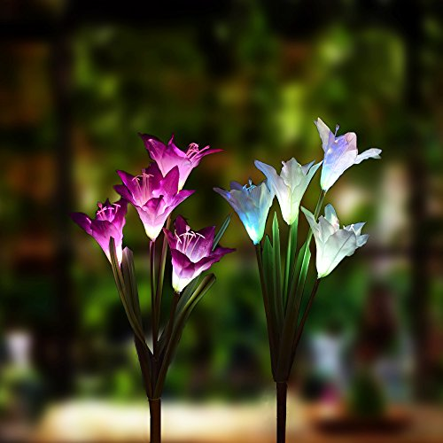 Lily Shaped Stake Light With 7 Color Changing. 2 Pack Beautiful Artificial  Flower Garden Stake LightsInclude Purple And White Lily Lights. 2 Pack Solar  Led ...