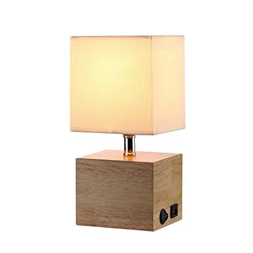 Natural Wood Base Table Lamp Hompen Desk Lamp With 5v 2a