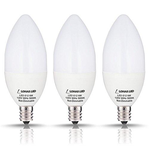 LOHAS Candelabra LED Bulbs, 60 Watt Equivalent-6W LEDs, Daylight