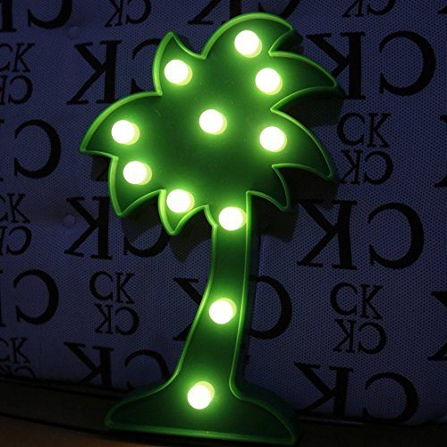 QiaoFei LED Palm Tree Light,3D Tropical Palm Tree Signs, U2013 Wall Decor  Holiday Birthday Party LED Marquee Lights, For Party Table Decorations,Cute  Office ...