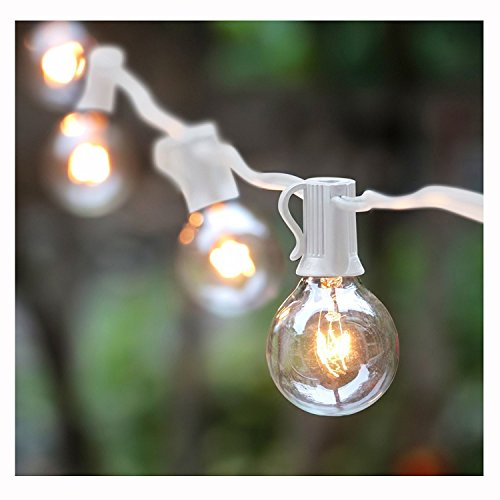 100Foot G40 Globe String Lights With Bulbs Outdoor Market Lights For  Indoor/Outdoor Commercial Decor, White Wire