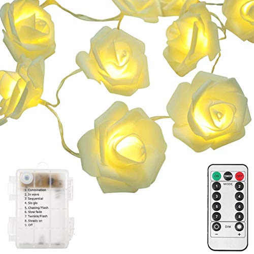 Echosari updated version battery operated 15 ft 30 led white rose package include 1x 30 led valentines wedding decoration rose flower string lights 1x led remote control total 14 mightylinksfo