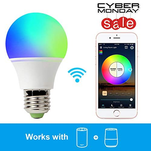 smart light bulb work with alexa rgb 45w wifi bulb assistant compatible with amazon echo and. Black Bedroom Furniture Sets. Home Design Ideas