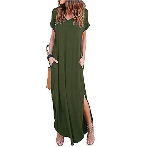 7e059a3f59a31 Loose Plain Maxi Dresses Women's Short Sleeve Casual Long Dresses with  Pockets Army Green