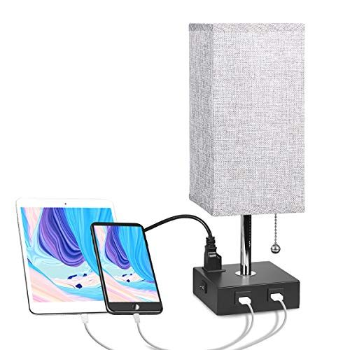 Usb Bedside Table Lamp With Outlet Aooshine Modern Solid